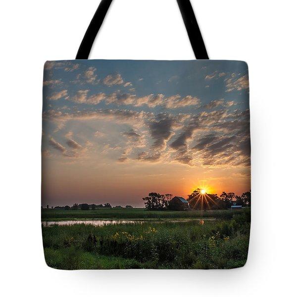 Farmstead Sunrise Tote Bag by Dan Traun