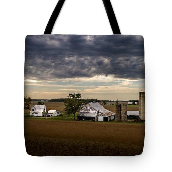 Farmstead Under Clouds Tote Bag
