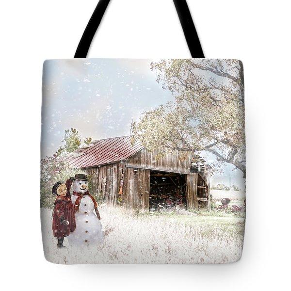 Farmstyle Snowman Tote Bag