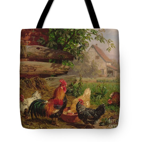Farmyard Chickens Tote Bag