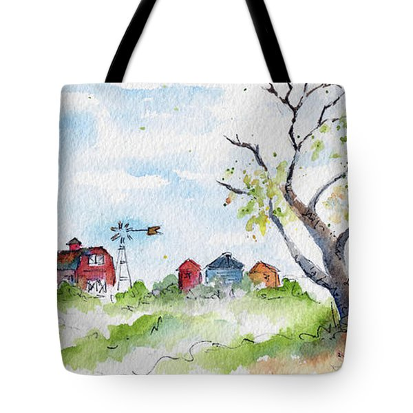 Farmyard From Afar Tote Bag