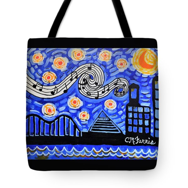 Tote Bag featuring the painting Memphis Nights by Christopher Farris