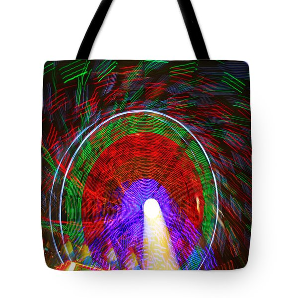 Farris Wheel Crazy Light Abstract Tote Bag by James BO  Insogna