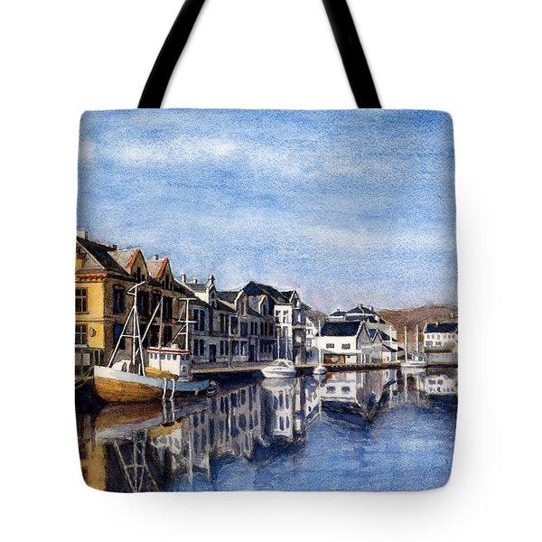 Farsund Dock Scene 2 Tote Bag