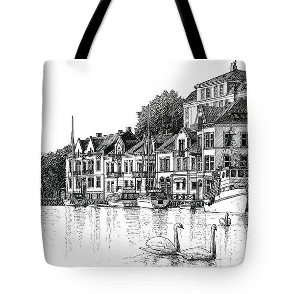 Farsund Harbor In Ink Tote Bag
