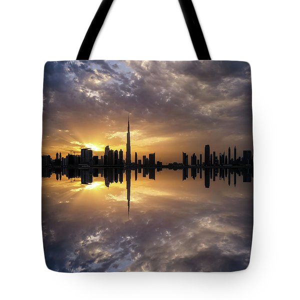 Fascinating Reflection In Business Bay District During Dramatic Sunset. Dubai, United Arab Emirates. Tote Bag