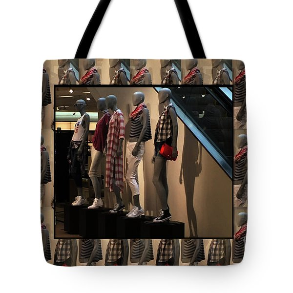 Tote Bag featuring the photograph Fashion Couture Parade Showroom Tshirts Pillows Towels Curtains Christmas Holidays Festival Birthday by Navin Joshi