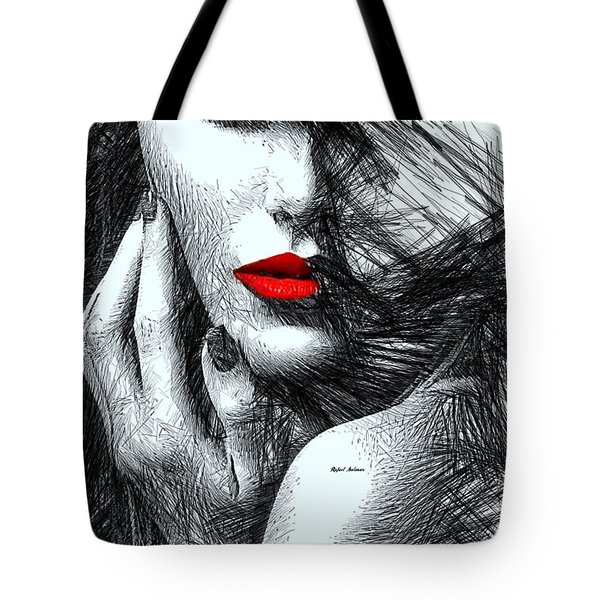 Tote Bag featuring the digital art Fashion Flair In Black And White by Rafael Salazar