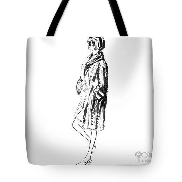 Fashion Girl In Fur Coat Tote Bag