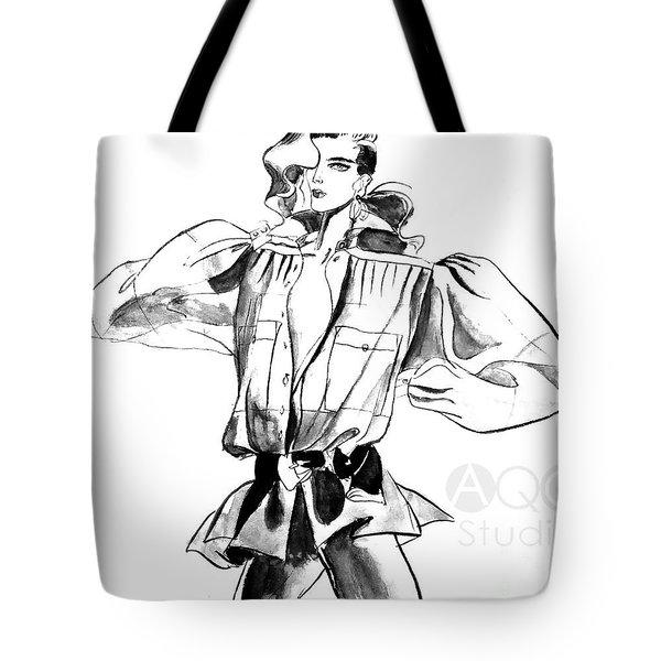 Fashion Girl With Big Sleeves Tote Bag