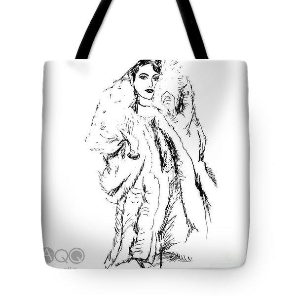 Fashion Lady In Fur Coat Tote Bag