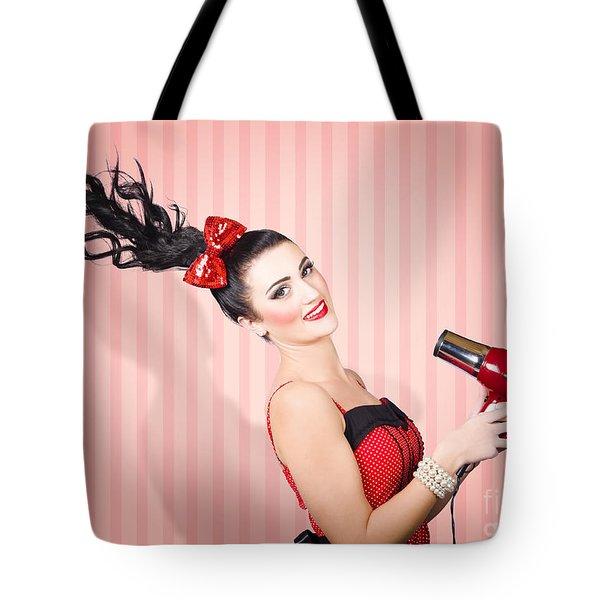 Fashion Model Straightening Long Brunette Hair Tote Bag