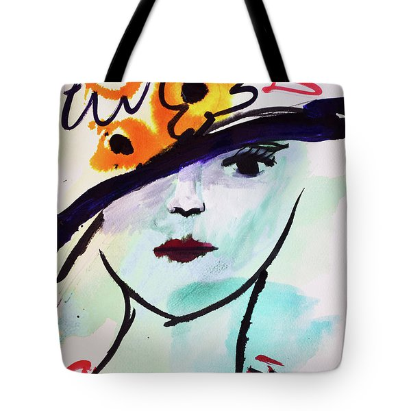 Fashion, Vintage Hat With Flowers Tote Bag