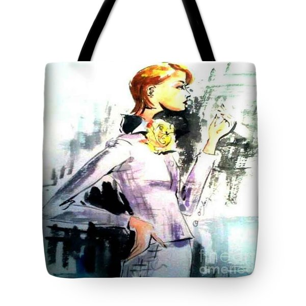 Fashion Woman In Purple Tote Bag