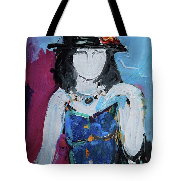Fashion Woman With Vintage Hat And Blue Dress Tote Bag