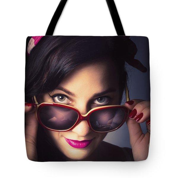 Fashionable Retro Pin-up Model Tote Bag
