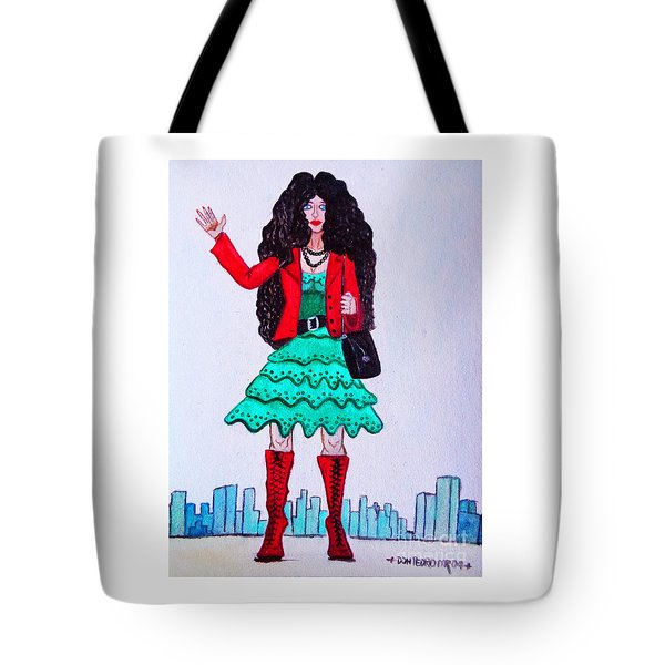 Fashionist Hailing A Taxi Tote Bag by Don Pedro De Gracia