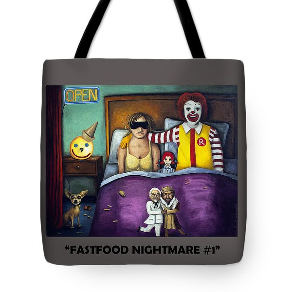 Fast Food Nightmare With Lettering Tote Bag