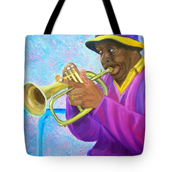 Fat Albert Plays The Trumpet Tote Bag by Michael Lee