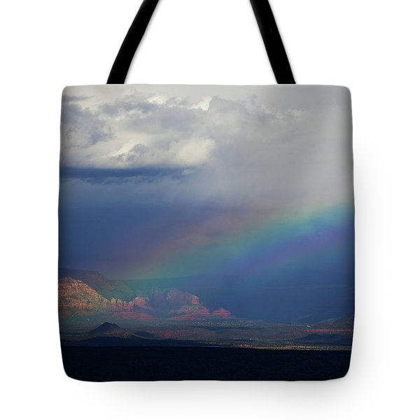 Fat Rainbow, Sedona Az Tote Bag by Ron Chilston