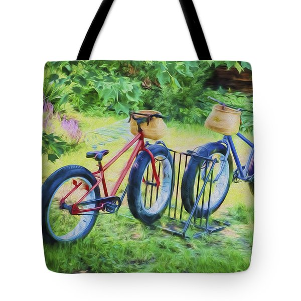 Tote Bag featuring the photograph Fat Tire Bikes by Tom Singleton