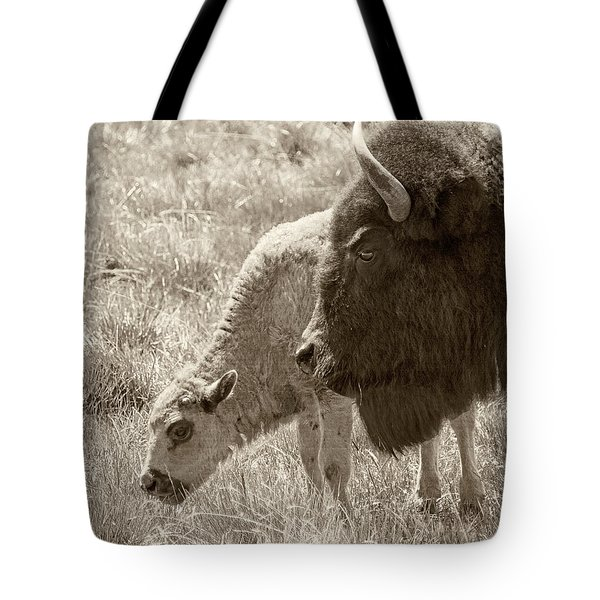 Tote Bag featuring the photograph Father And Baby Buffalo by Rebecca Margraf
