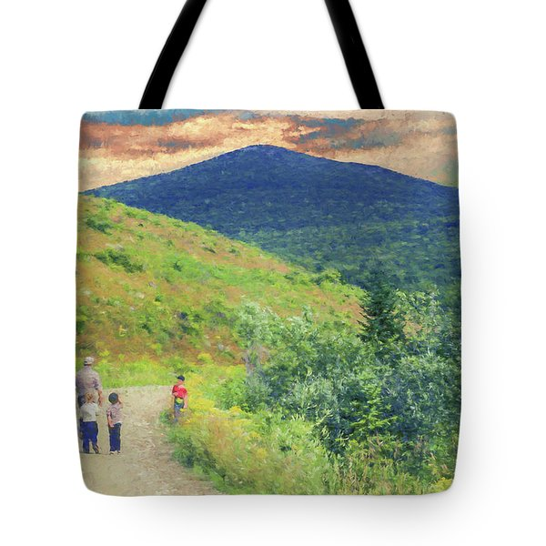 Father And Children Walking Together Tote Bag