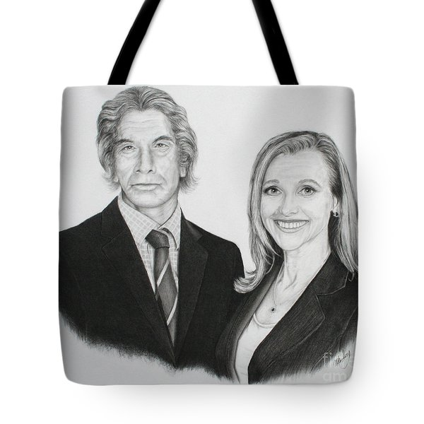 Tote Bag featuring the drawing Father And Daughter by Mike Ivey