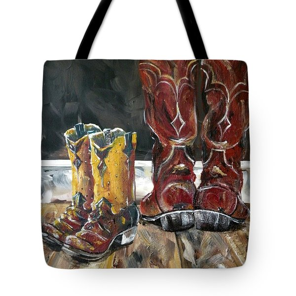 Father And Son Boots Tote Bag by Holly York