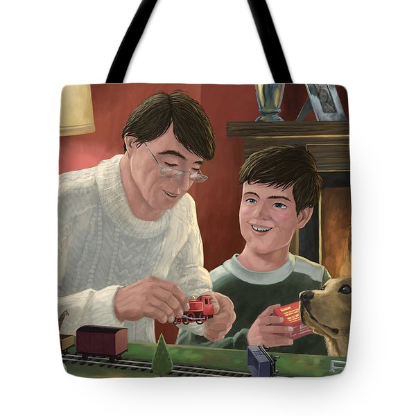 Father And Son Building Model Railway Tote Bag by Martin Davey