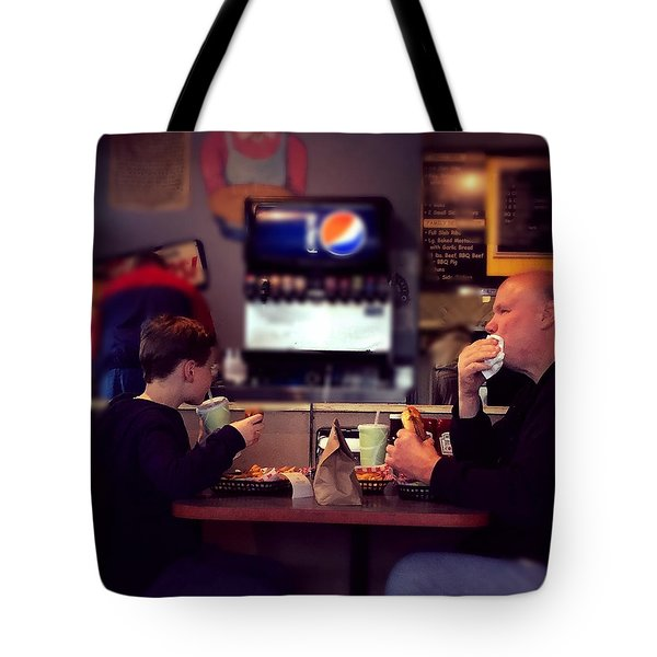 Father And Son Burger Time Tote Bag