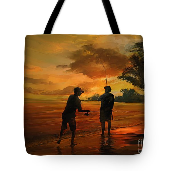 Father And Son Fishing Tote Bag by Rob Corsetti
