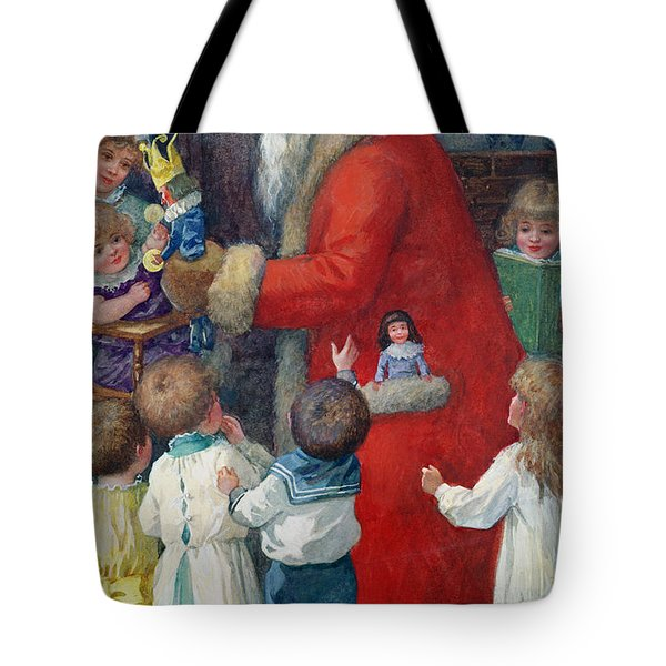 Father Christmas With Children Tote Bag by Karl Roger