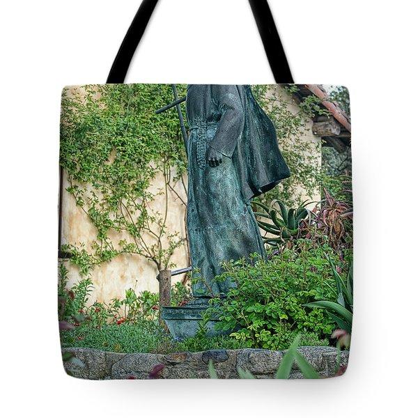 Father Junipero Serra Statue At Mission Carmel Tote Bag