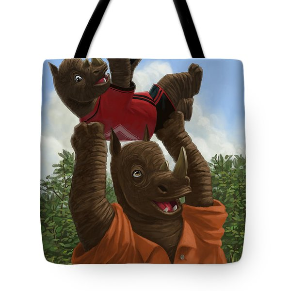 father Rhino with son Tote Bag by Martin Davey