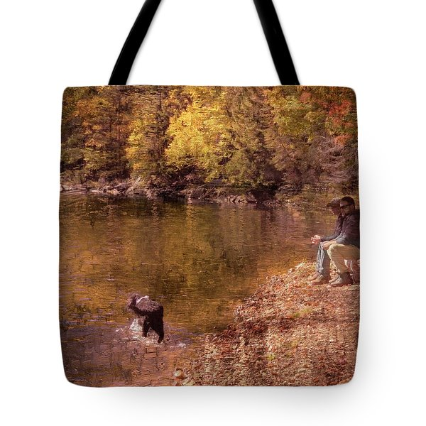 Father,son And Dog Tote Bag