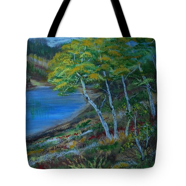 Tote Bag featuring the painting Favorite Fishin' Hole by Leslie Allen