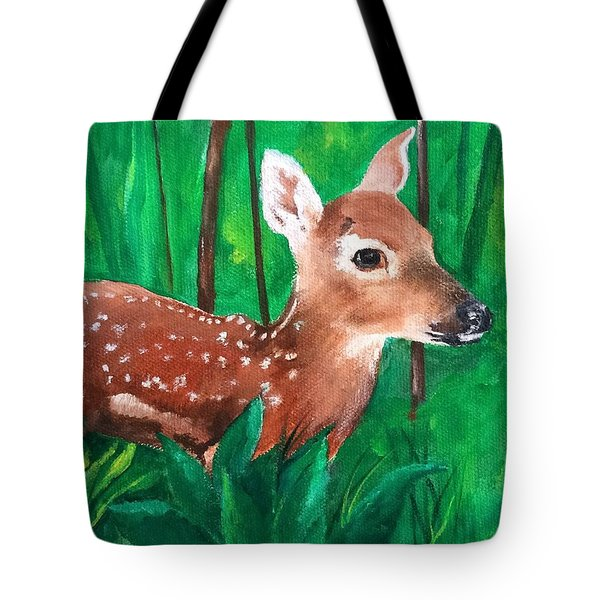Tote Bag featuring the painting Fawn by Ellen Canfield