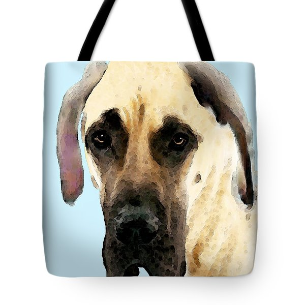 Fawn Great Dane Dog Art Painting Tote Bag by Sharon Cummings