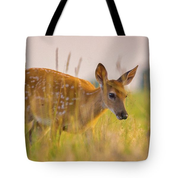 Tote Bag featuring the photograph Fawn In Grasslands by John De Bord