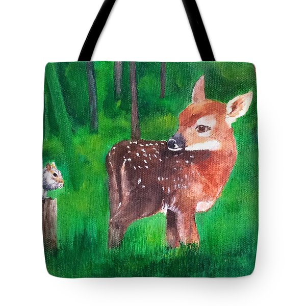 Tote Bag featuring the painting Fawn With Squirrel by Ellen Canfield
