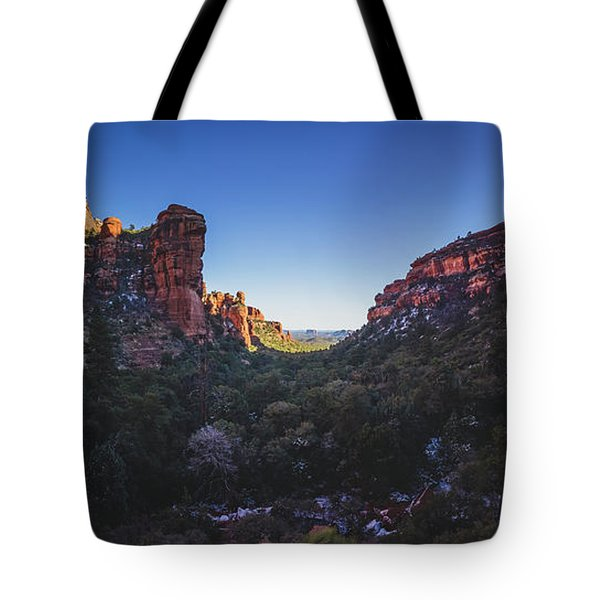 Tote Bag featuring the photograph Fay Canyon Panorama by Andy Konieczny