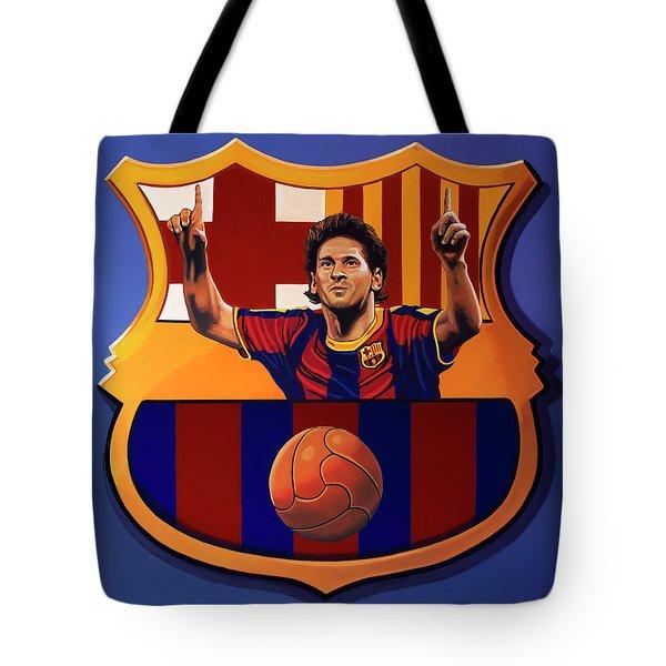 Fc Barcelona Painting Tote Bag