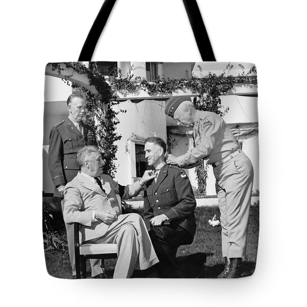 Tote Bag featuring the photograph Fdr Presenting Medal Of Honor To William Wilbur by War Is Hell Store