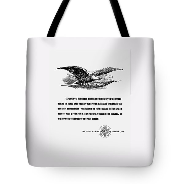 Fdr War Quote Tote Bag by War Is Hell Store