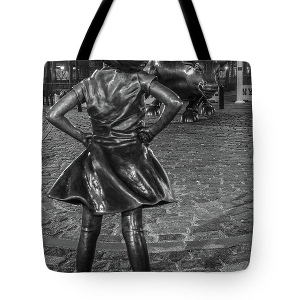 Fearless Girl And Charging Bull Nyc Tote Bag