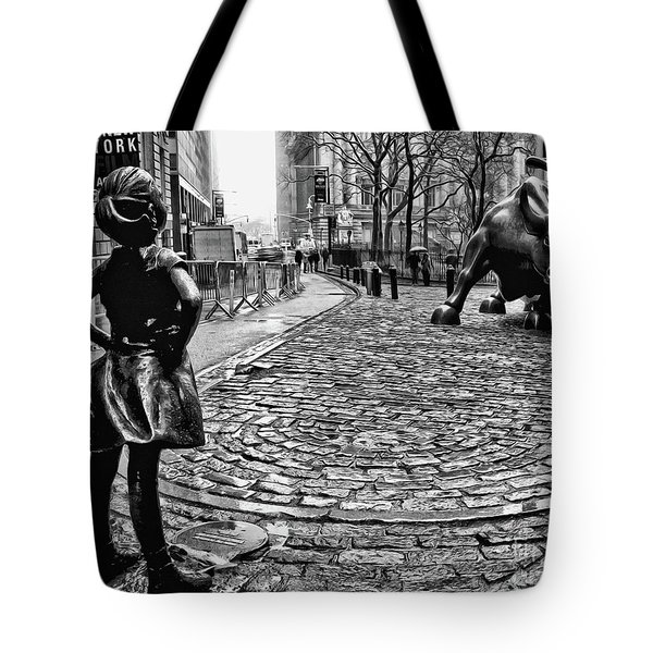 Fearless Girl And Wall Street Bull Statues 3 Bw Tote Bag