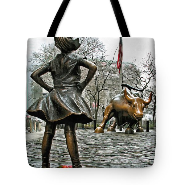 Fearless Girl And Wall Street Bull Statues 5 Tote Bag