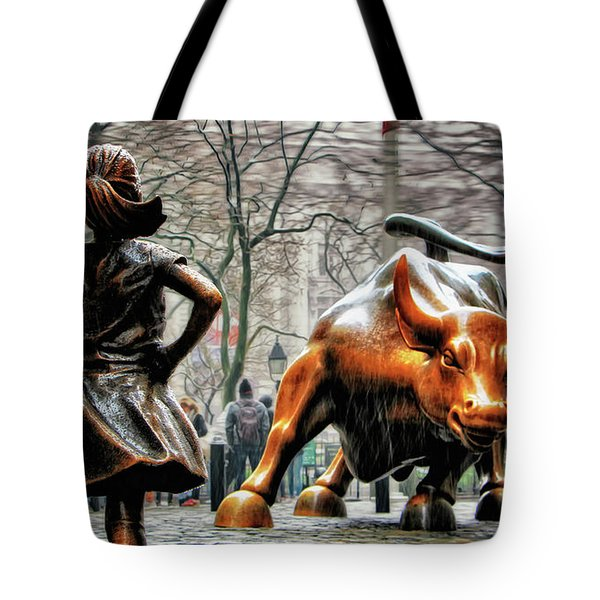Fearless Girl And Wall Street Bull Statues Tote Bag by Nishanth Gopinathan