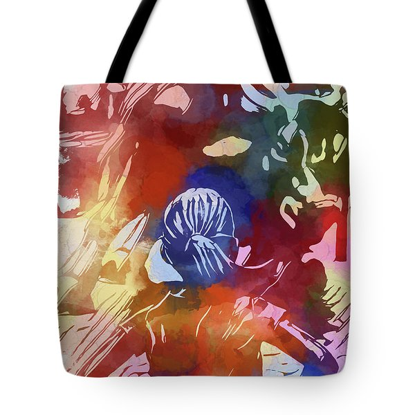 Tote Bag featuring the mixed media Fearless Girl Wall Street by Dan Sproul